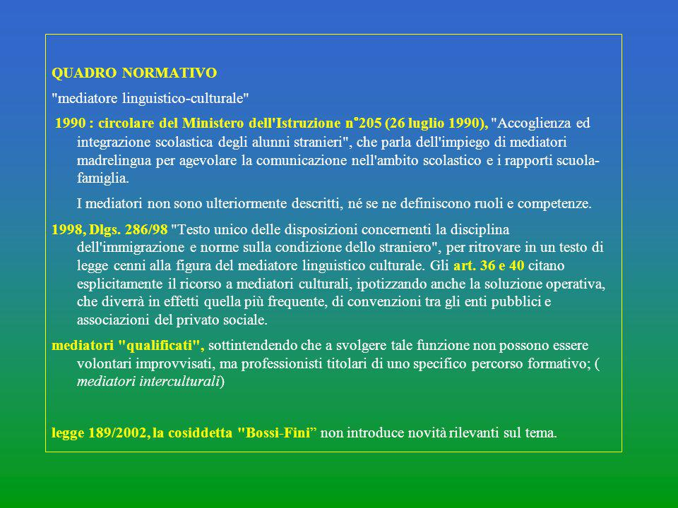 QUADRO NORMATIVO mediatore linguistico-culturale