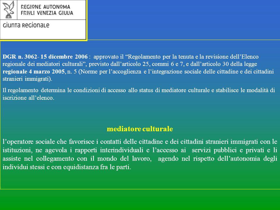 DGR n. 3062- 15 dicembre 2006 : approvato il Regolamento per la tenuta e la revisione dell'Elenco regionale dei mediatori culturali , previsto dall'articolo 25, commi 6 e 7, e dall'articolo 30 della legge regionale 4 marzo 2005, n. 5 (Norme per l'accoglienza e l'integrazione sociale delle cittadine e dei cittadini stranieri immigrati).