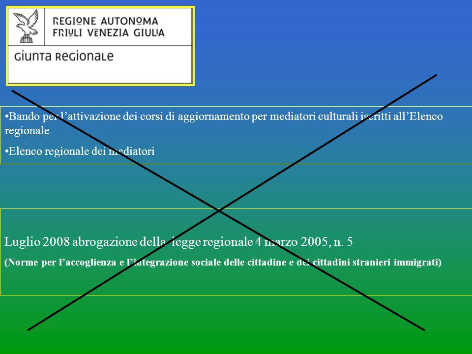 Luglio 2008 abrogazione della legge regionale 4 marzo 2005, n. 5