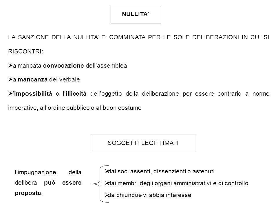 NULLITA' LA SANZIONE DELLA NULLITA' E' COMMINATA PER LE SOLE DELIBERAZIONI IN CUI SI RISCONTRI: la mancata convocazione dell'assemblea.