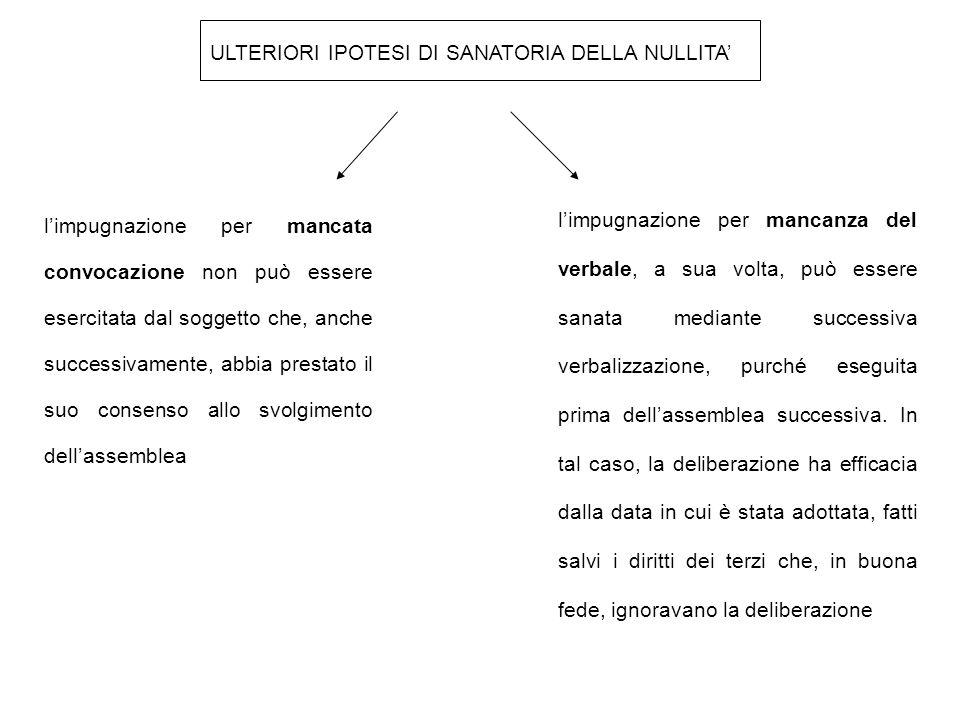 ULTERIORI IPOTESI DI SANATORIA DELLA NULLITA'