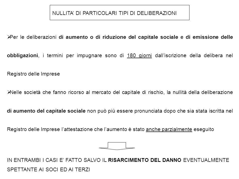 NULLITA' DI PARTICOLARI TIPI DI DELIBERAZIONI