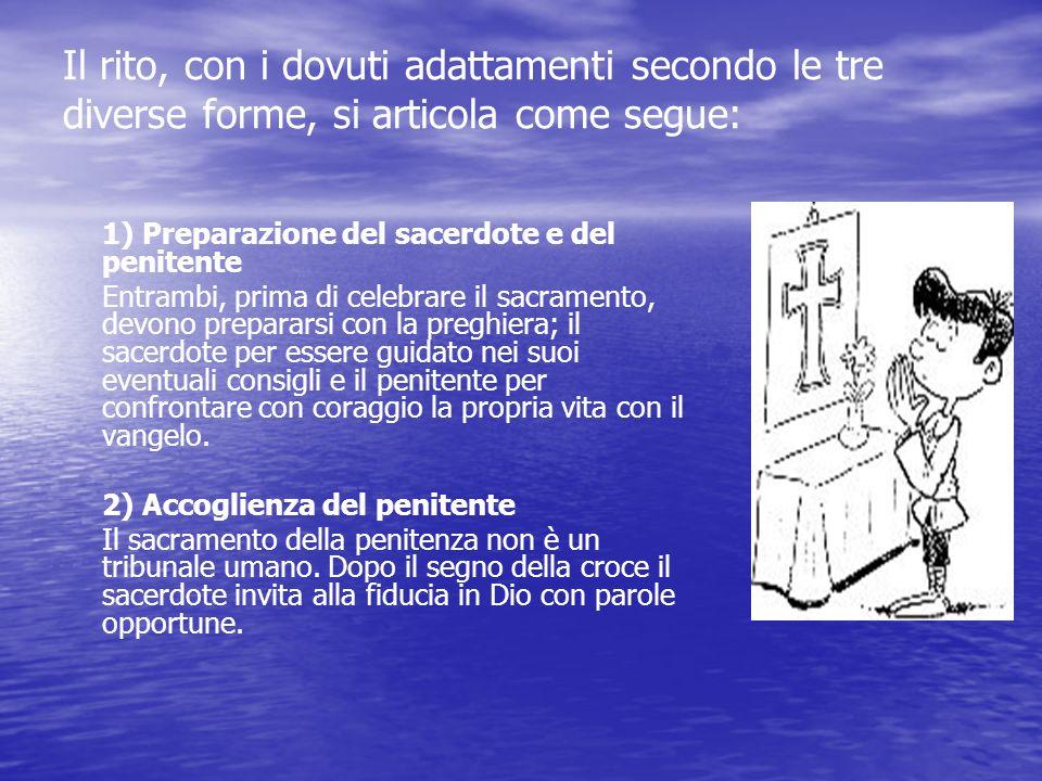 Il rito, con i dovuti adattamenti secondo le tre diverse forme, si articola come segue: