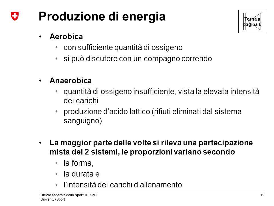 Produzione di energia Aerobica con sufficiente quantità di ossigeno