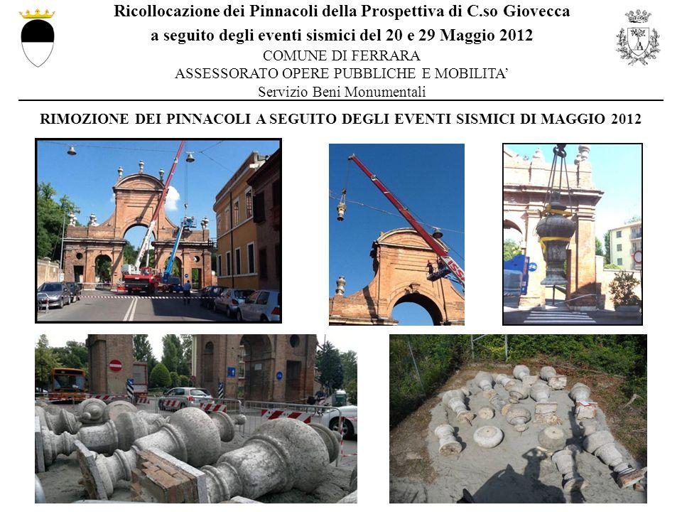 RIMOZIONE DEI PINNACOLI A SEGUITO DEGLI EVENTI SISMICI DI MAGGIO 2012
