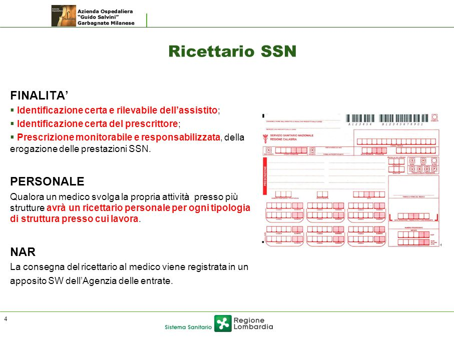 Ricettario SSN FINALITA' PERSONALE NAR