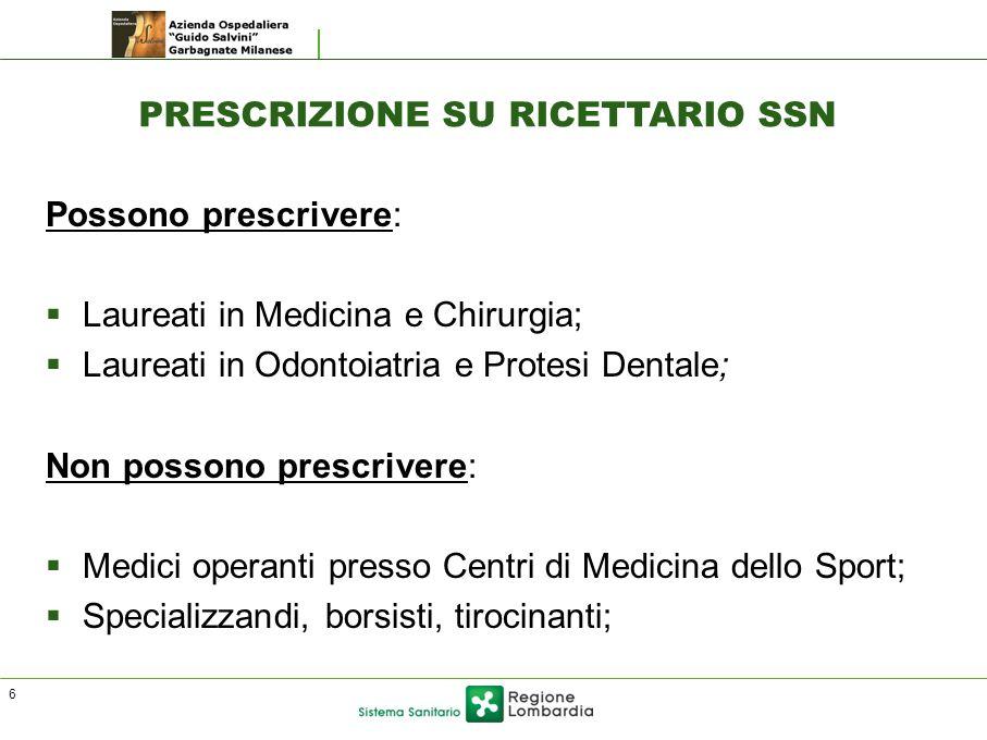 PRESCRIZIONE SU RICETTARIO SSN