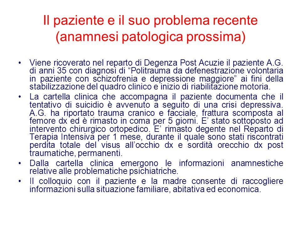 Il paziente e il suo problema recente (anamnesi patologica prossima)