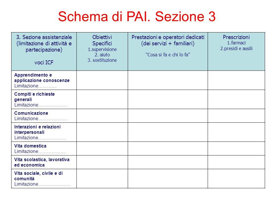Schema di PAI. Sezione 3 3. Sezione assistenziale