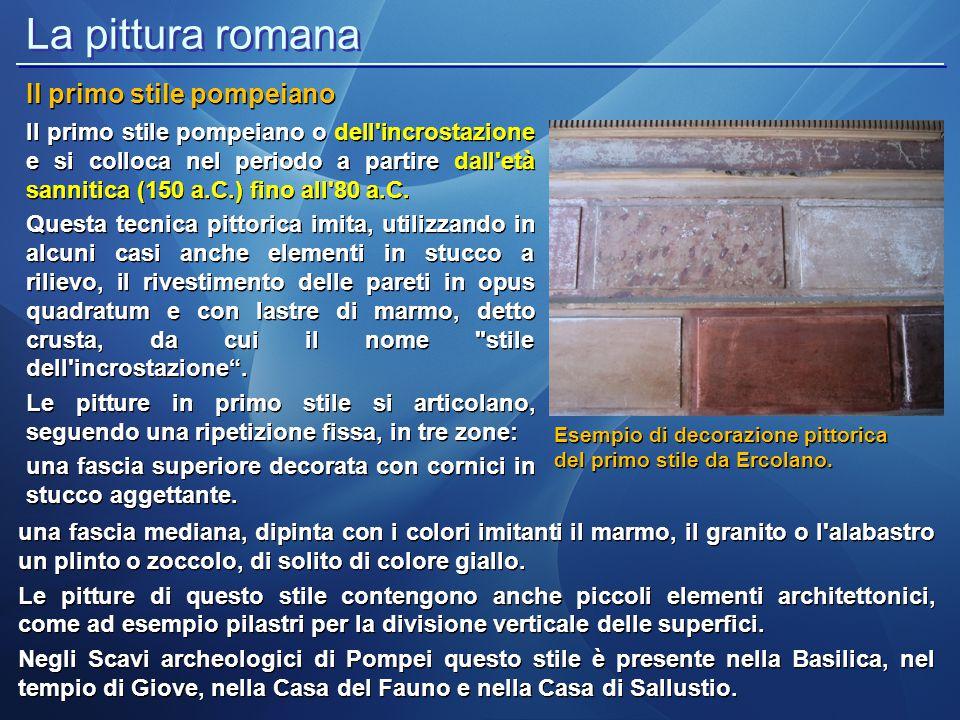 La pittura romana Il primo stile pompeiano