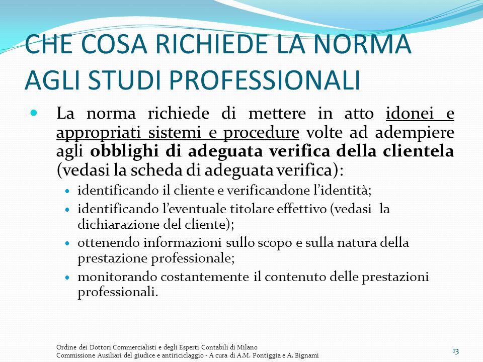 CHE COSA RICHIEDE LA NORMA AGLI STUDI PROFESSIONALI