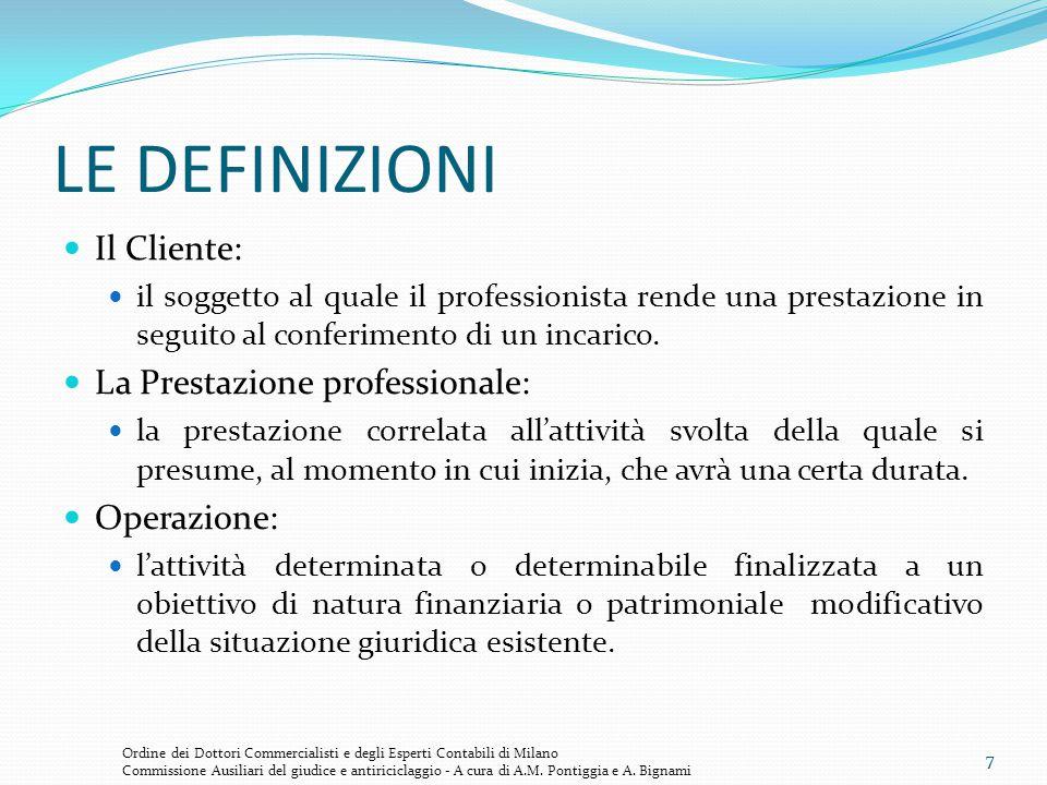LE DEFINIZIONI Il Cliente: La Prestazione professionale: Operazione: