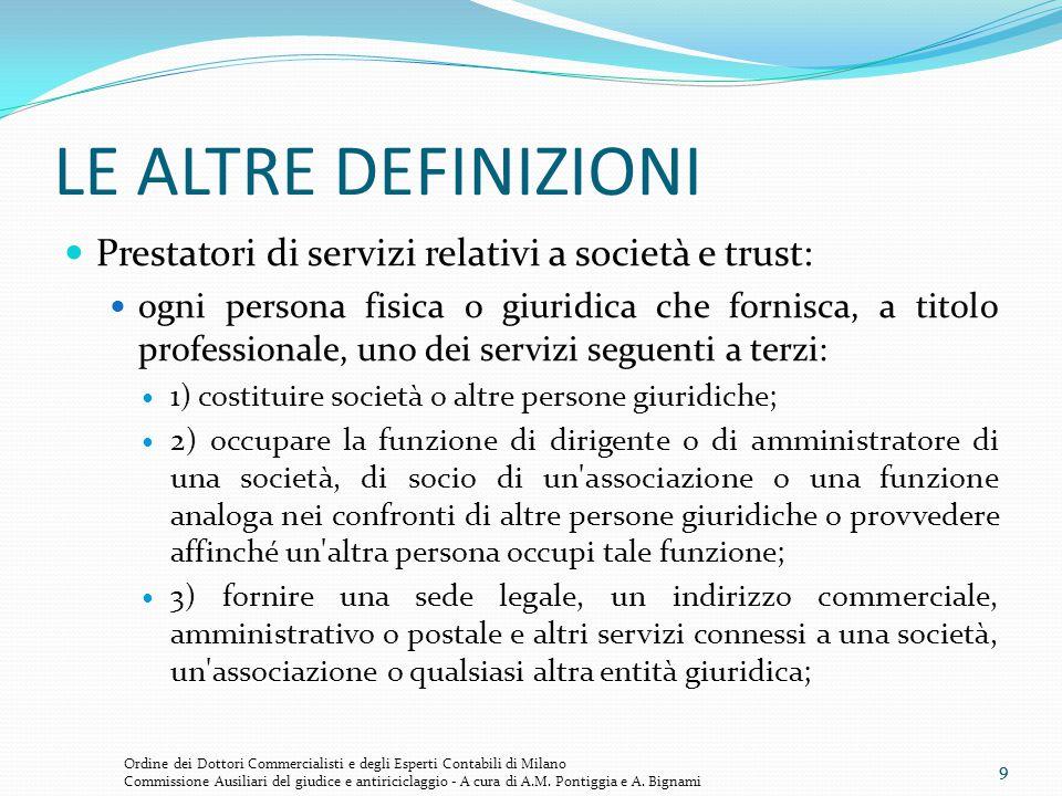 LE ALTRE DEFINIZIONI Prestatori di servizi relativi a società e trust: