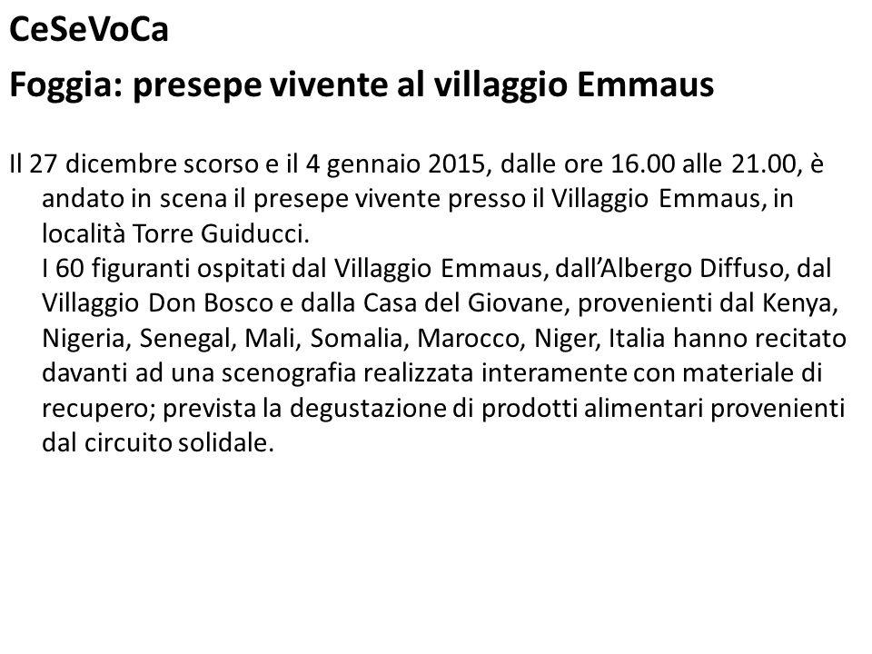 Foggia: presepe vivente al villaggio Emmaus