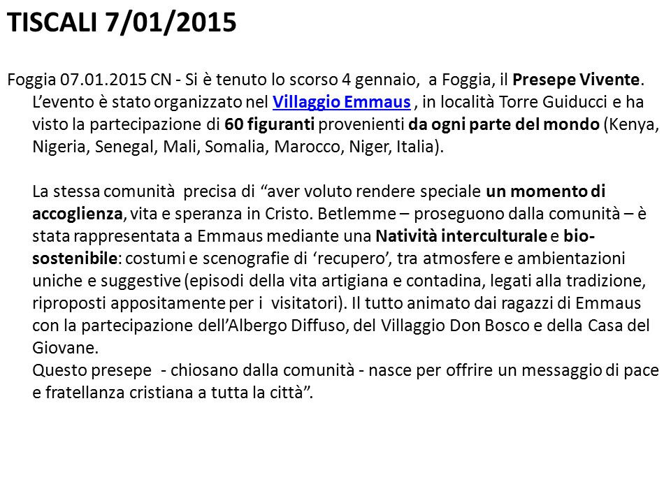 TISCALI 7/01/2015