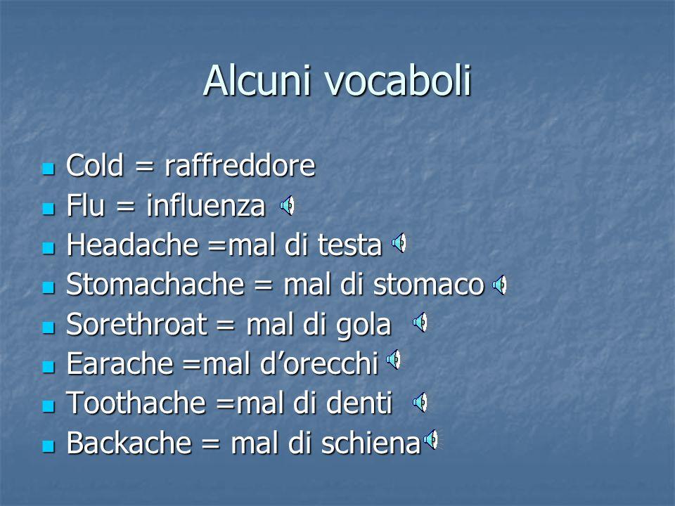 Alcuni vocaboli Cold = raffreddore Flu = influenza
