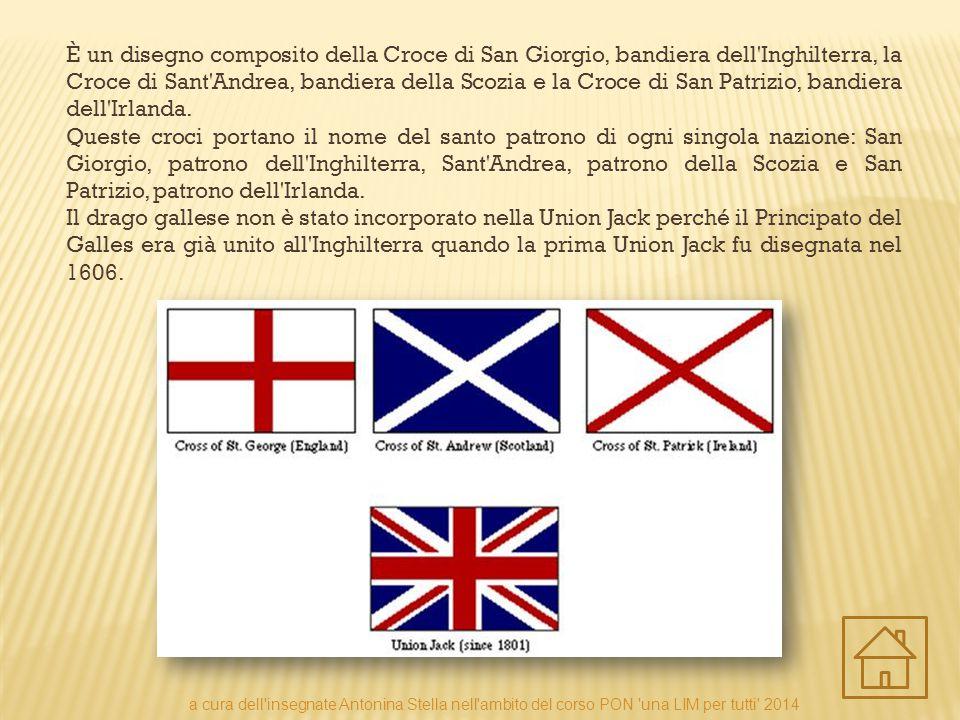 È un disegno composito della Croce di San Giorgio, bandiera dell Inghilterra, la Croce di Sant Andrea, bandiera della Scozia e la Croce di San Patrizio, bandiera dell Irlanda.