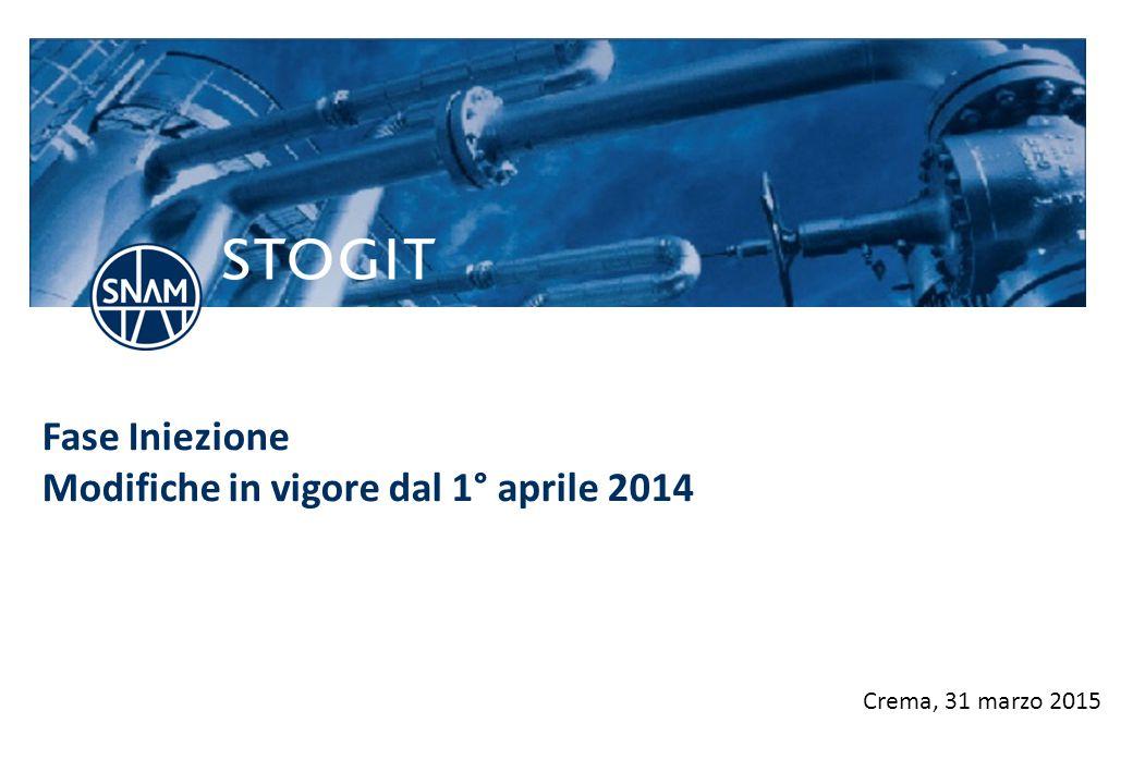 Fase Iniezione Modifiche in vigore dal 1° aprile 2014