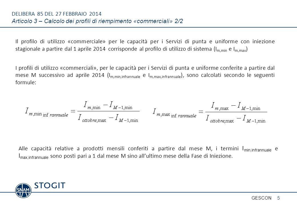 DELIBERA 85 DEL 27 FEBBRAIO 2014 Articolo 3 – Calcolo dei profili di riempimento «commerciali» 2/2