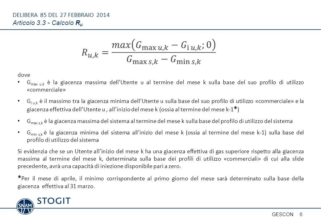 DELIBERA 85 DEL 27 FEBBRAIO 2014 Articolo 3.3 - Calcolo Ru