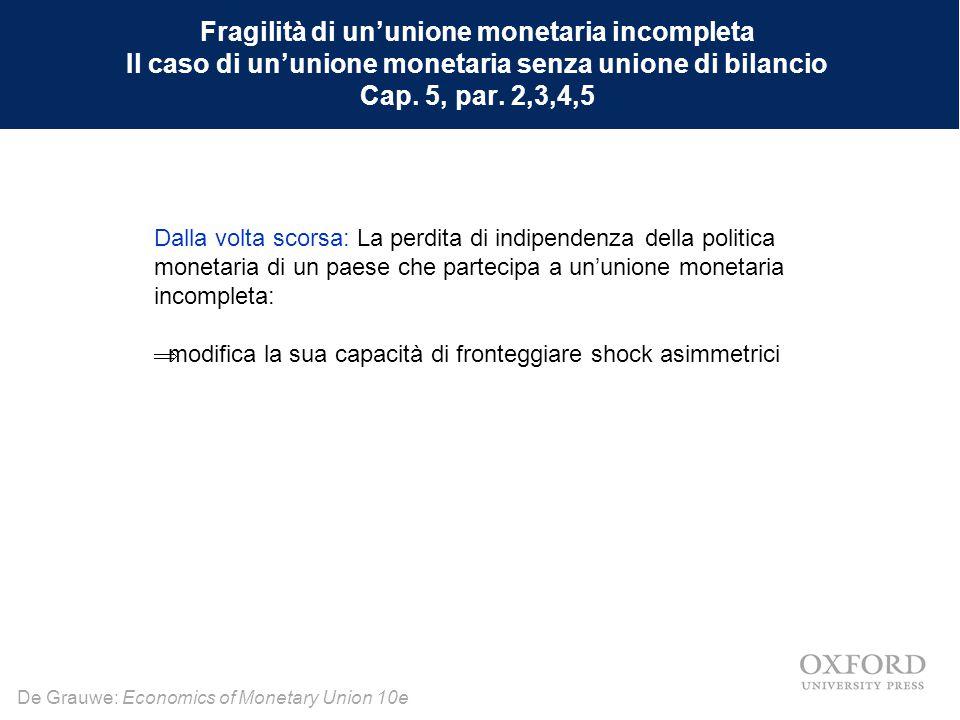 Fragilità di un'unione monetaria incompleta Il caso di un'unione monetaria senza unione di bilancio Cap. 5, par. 2,3,4,5