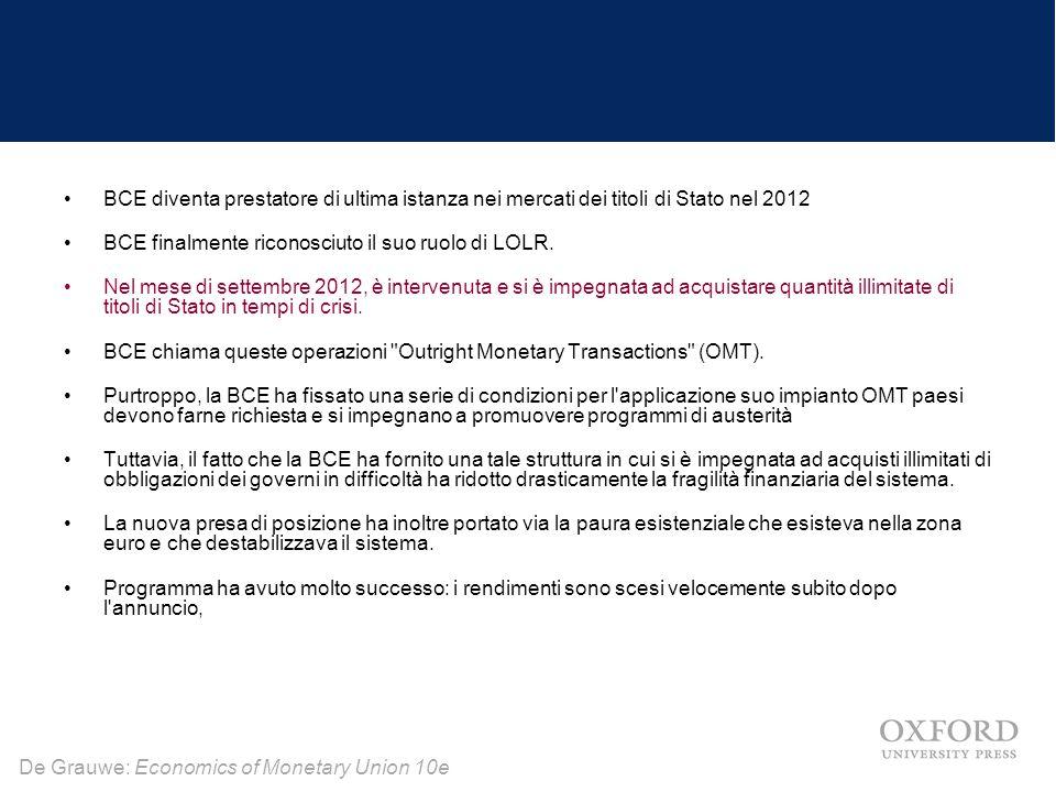 BCE diventa prestatore di ultima istanza nei mercati dei titoli di Stato nel 2012