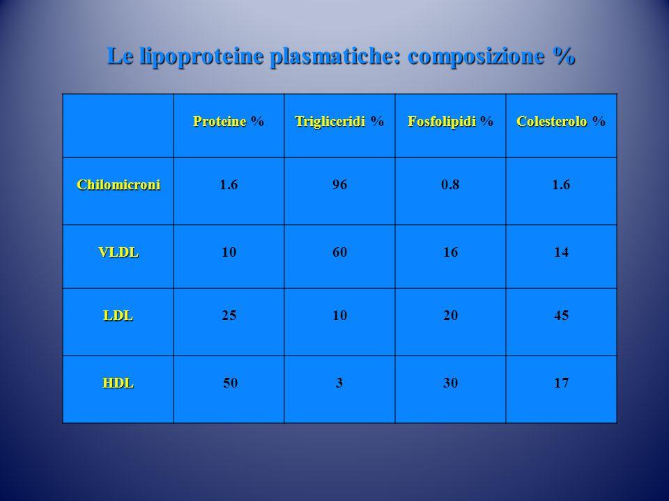 Le lipoproteine plasmatiche: composizione %