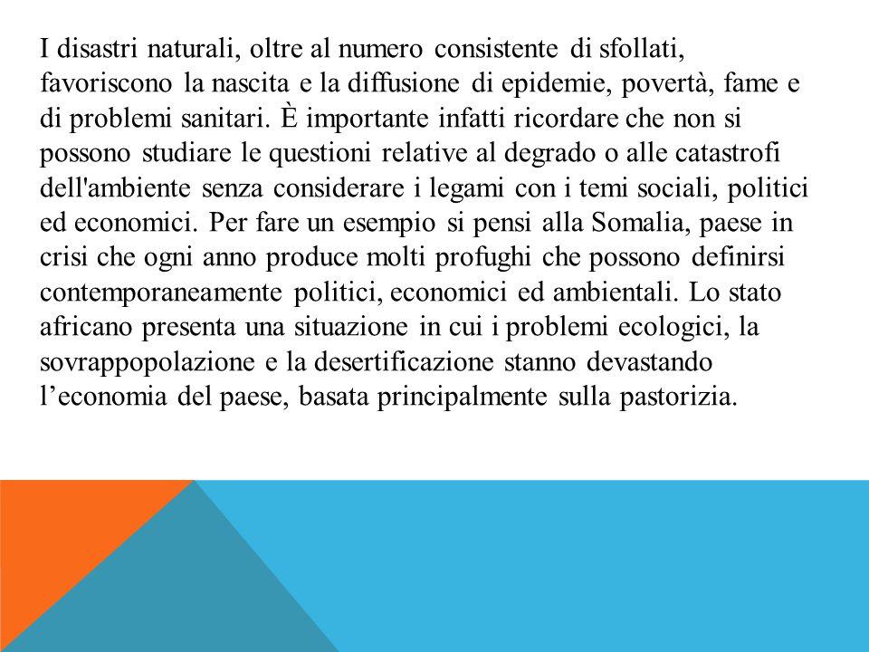 I disastri naturali, oltre al numero consistente di sfollati, favoriscono la nascita e la diffusione di epidemie, povertà, fame e di problemi sanitari.