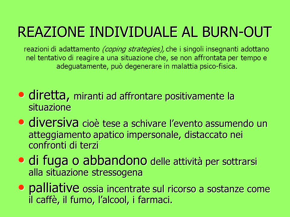 REAZIONE INDIVIDUALE AL BURN-OUT