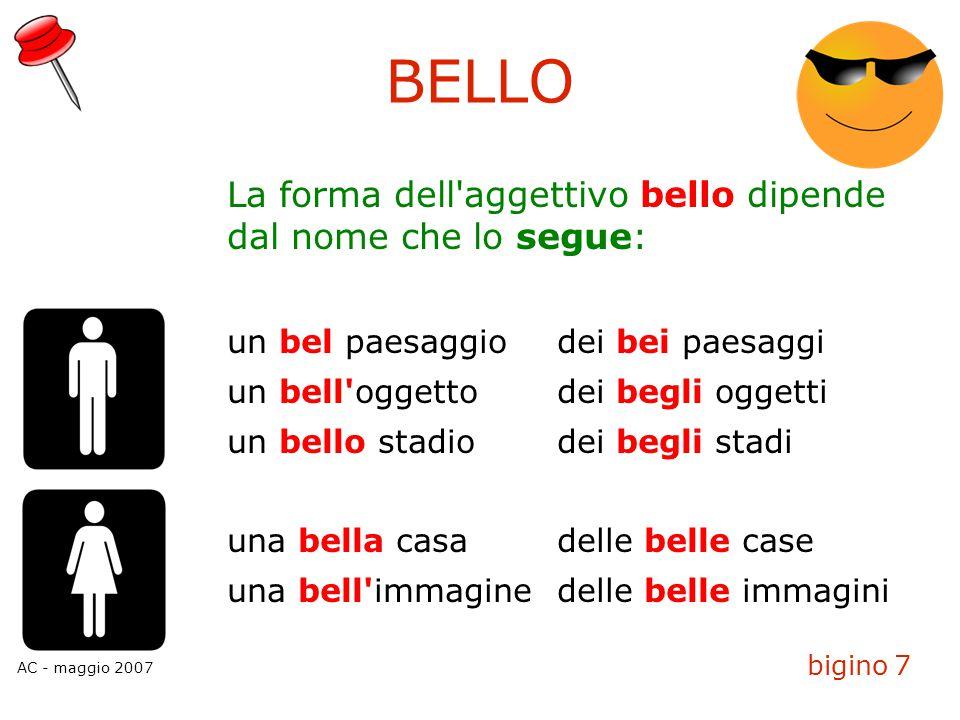 BELLO La forma dell aggettivo bello dipende dal nome che lo segue: