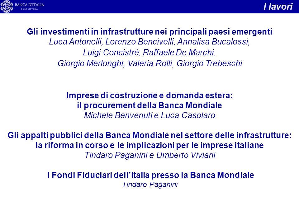 I lavori Gli investimenti in infrastrutture nei principali paesi emergenti. Luca Antonelli, Lorenzo Bencivelli, Annalisa Bucalossi,