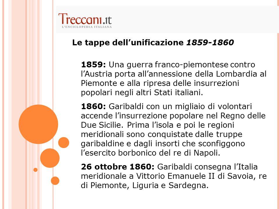 Le tappe dell'unificazione 1859-1860