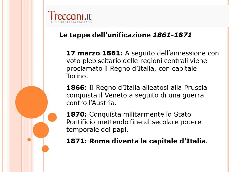 Le tappe dell'unificazione 1861-1871