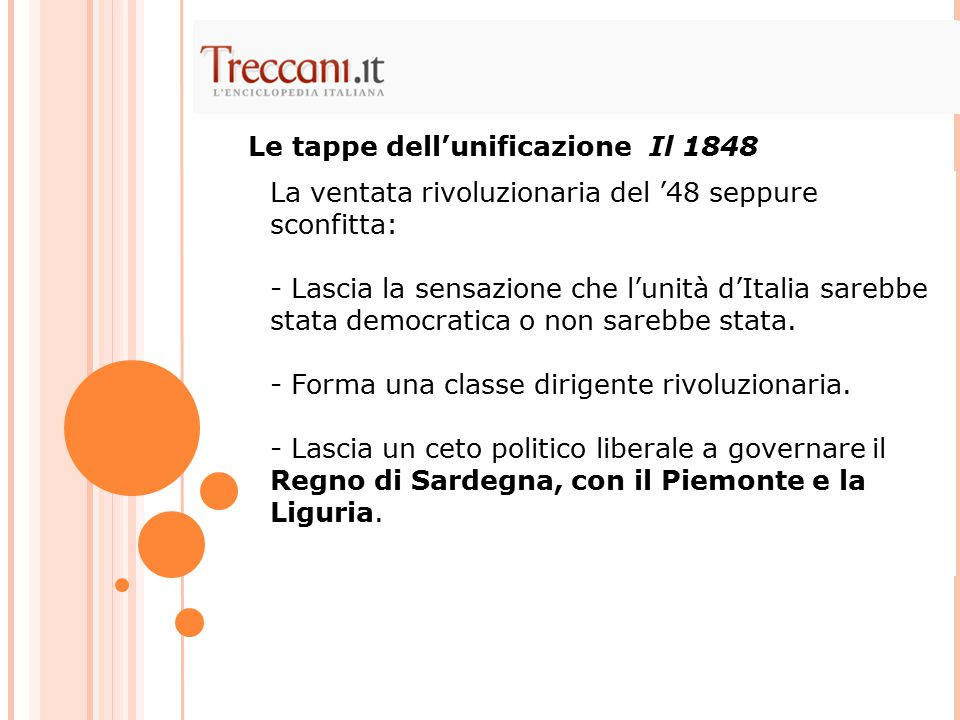 Le tappe dell'unificazione Il 1848