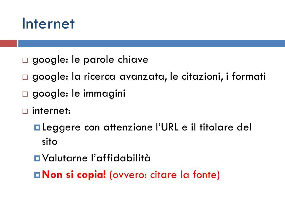 Internet google: le parole chiave