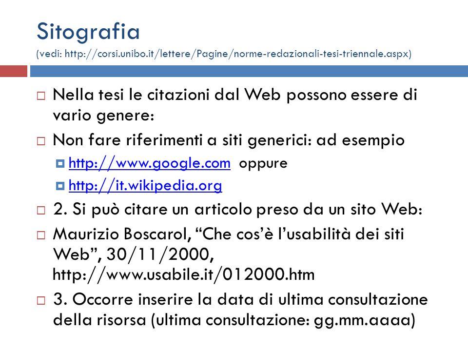Sitografia (vedi: http://corsi. unibo