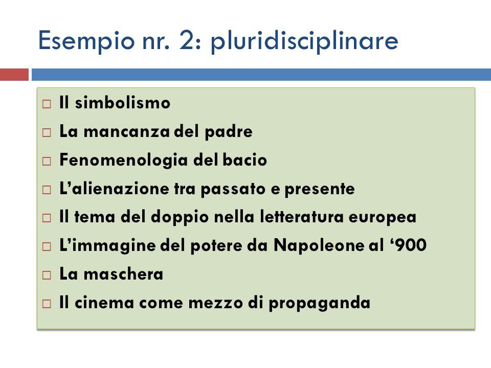 Esempio nr. 2: pluridisciplinare
