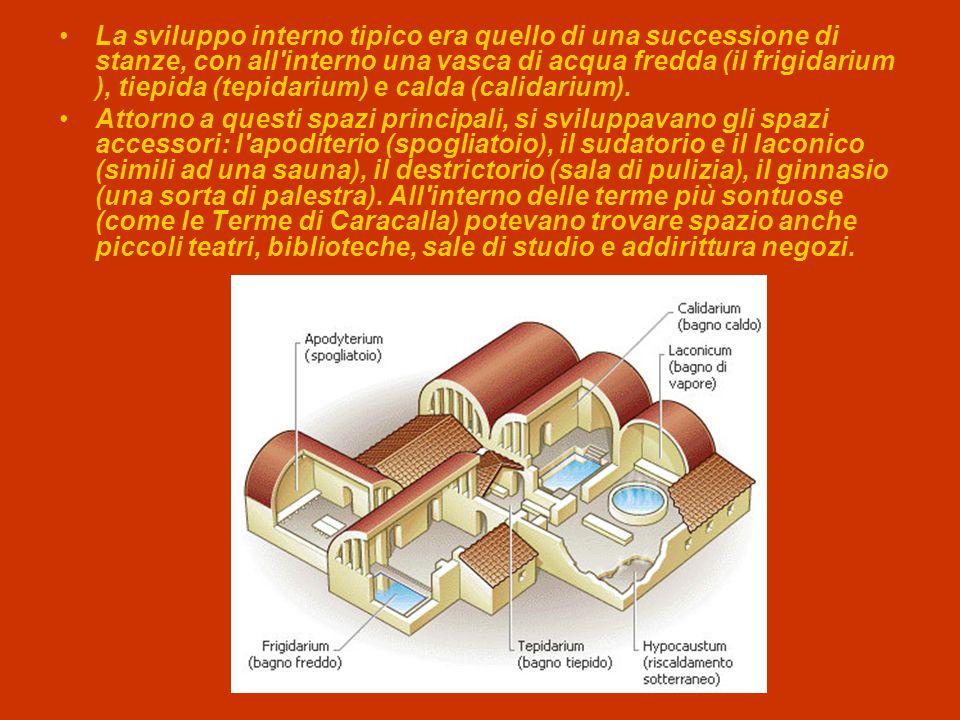 La sviluppo interno tipico era quello di una successione di stanze, con all interno una vasca di acqua fredda (il frigidarium ), tiepida (tepidarium) e calda (calidarium).