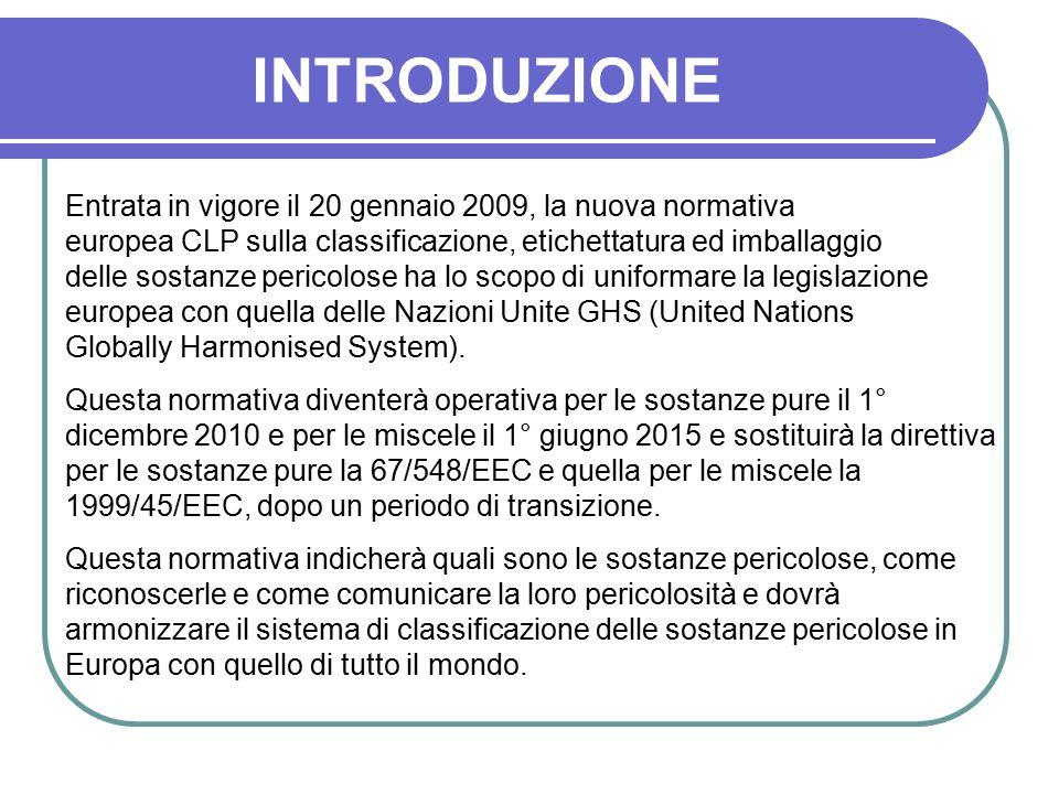 INTRODUZIONE Entrata in vigore il 20 gennaio 2009, la nuova normativa