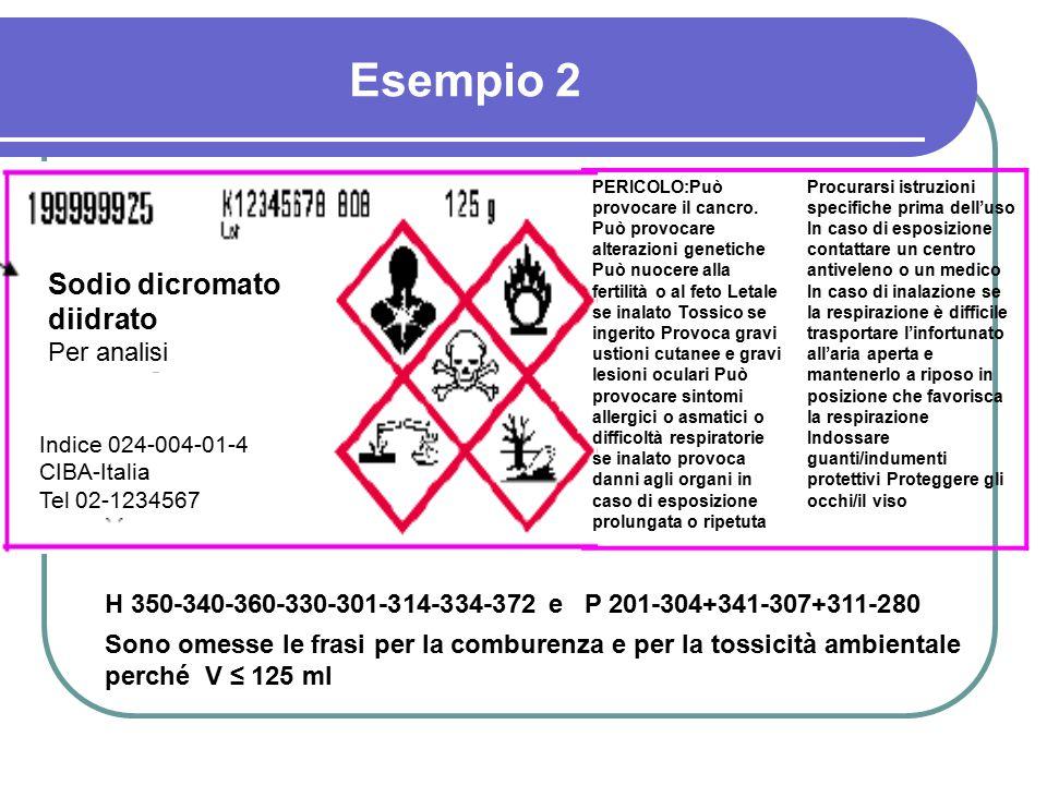Esempio 2 Sodio dicromato diidrato Per analisi