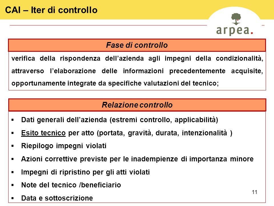 CAI – Iter di controllo Fase di controllo Relazione controllo