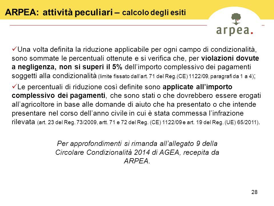 ARPEA: attività peculiari – calcolo degli esiti