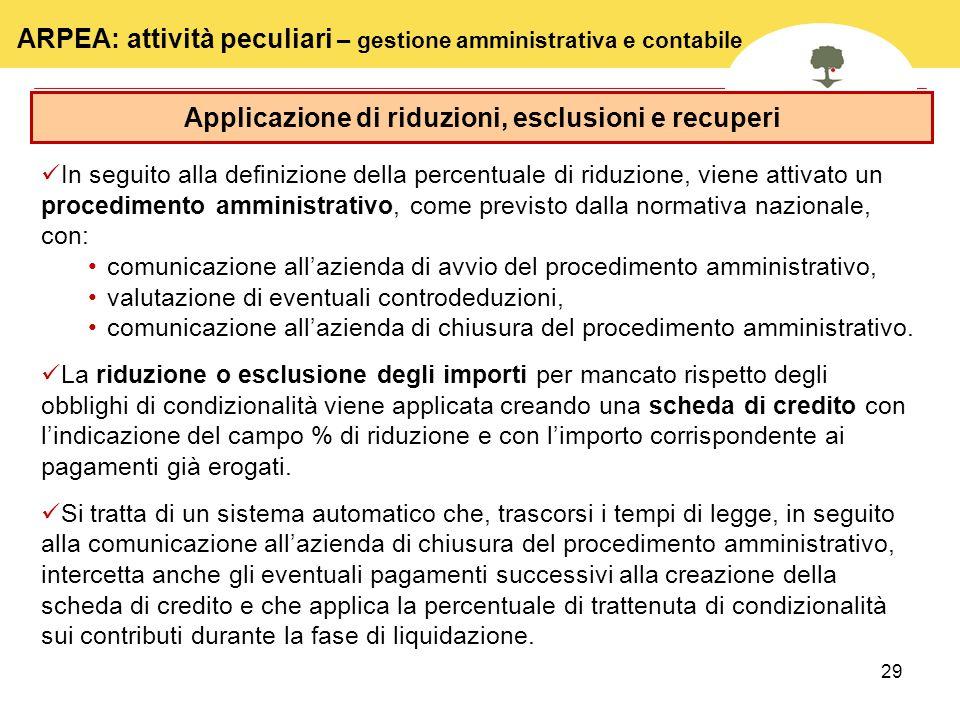 Applicazione di riduzioni, esclusioni e recuperi