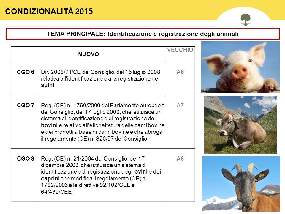 TEMA PRINCIPALE: Identificazione e registrazione degli animali