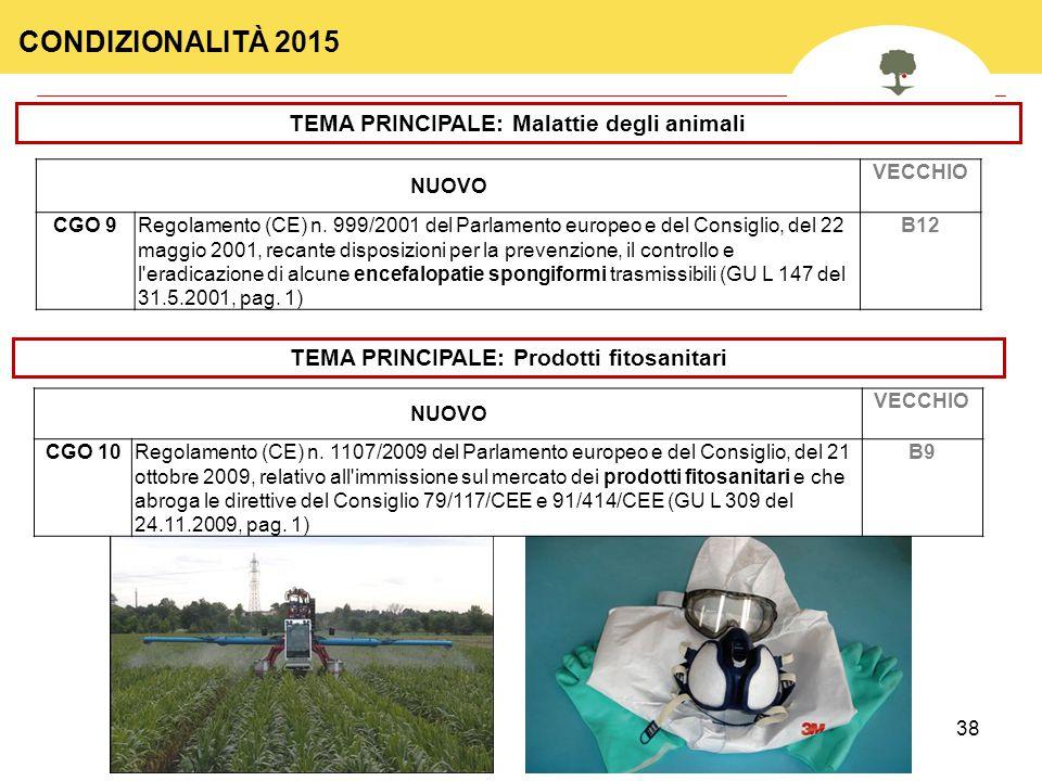 CONDIZIONALITÀ 2015 TEMA PRINCIPALE: Malattie degli animali