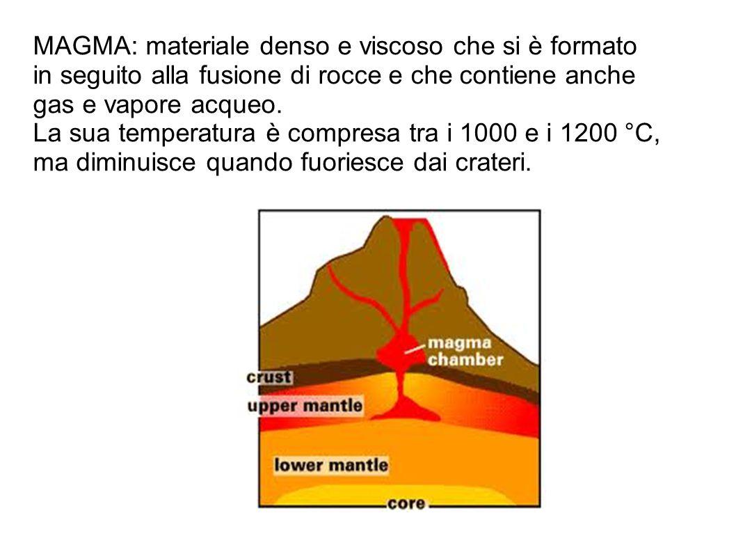 MAGMA: materiale denso e viscoso che si è formato