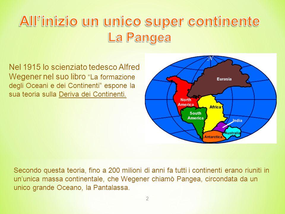 Nel 1915 lo scienziato tedesco Alfred Wegener nel suo libro La formazione degli Oceani e dei Continenti espone la sua teoria sulla Deriva dei Continenti.