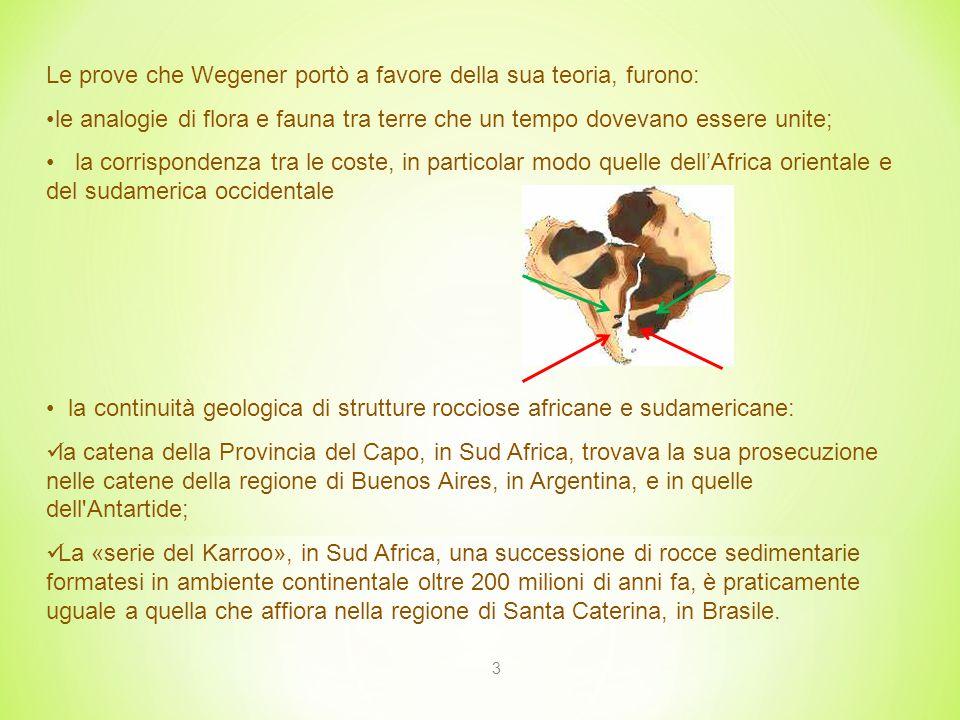 Le prove che Wegener portò a favore della sua teoria, furono: