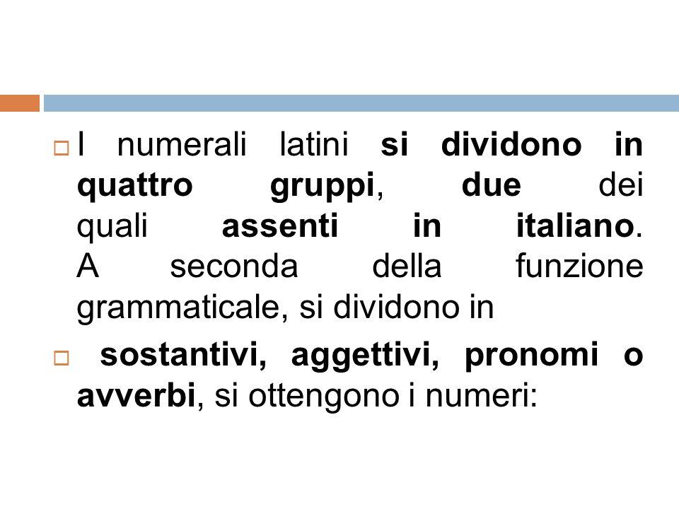 I numerali latini si dividono in quattro gruppi, due dei quali assenti in italiano. A seconda della funzione grammaticale, si dividono in