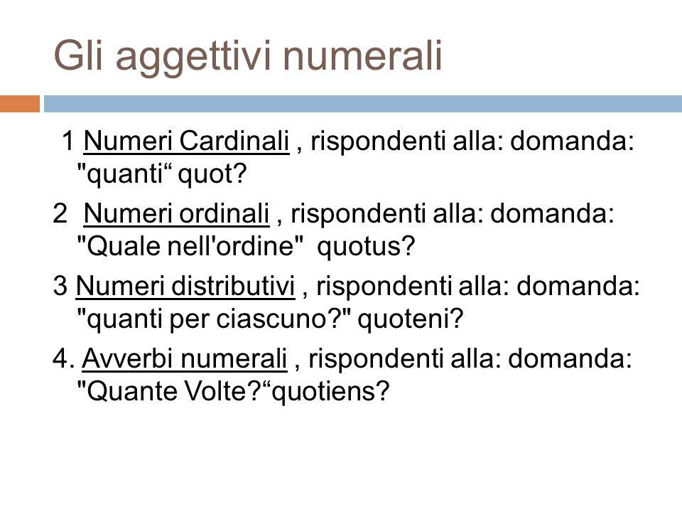 Gli aggettivi numerali